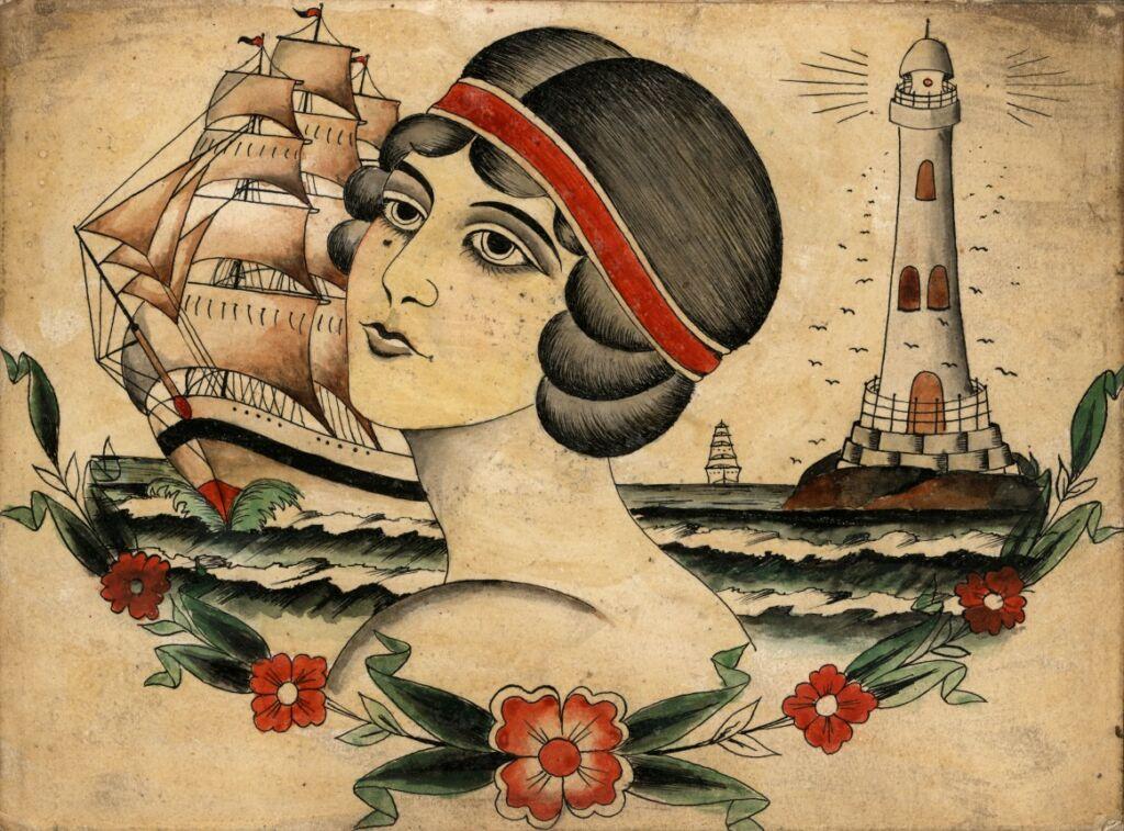 Gammal förlaga till tatuering föreställande en svarthårig kvinnas huvud, till vänster om henne ett skepp med fulla segel och till höger en fyr, under alltihop en rad med röda blommor och gröna blad.