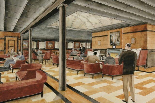 Teckning av tjusigt inredd salong. På golvet med grafiskt mönste står vinröda fåtäljer i vilka personer sitter och läser en tidning.